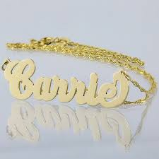 small solid 10kt or 18kt yellow or white personalized carrie name necklace laser cut fine jewelry nn03