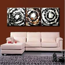 decoration, Wonderful Abstrack Picture On Brown Color Wall Closed White  Couch Front Gray Fur Rug