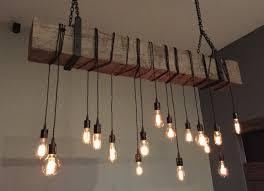 reclaimed barn beam light fixture 6 long beam 14 wrapped led edison bulbs