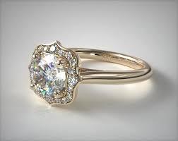engagement rings vintage 18k yellow gold vintage inspired antique frame halo engagement ring item 61921