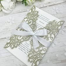 Ponatia 25pcs Laser Cut Bling Invitations Card With Ribbon For Wedding Bridal Shower Engagement Birthday Graduation Invitation Cards Gold Glitter