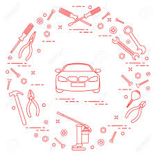 Automotive Design Tools Repair Cars Automobile With Tools Design For Announcement Isolated