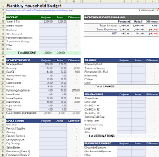 Budget Layout Example Household Budget Worksheet For Excel