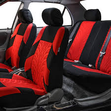 red car seat covers for car suv with brown leather steering cover complete set 1