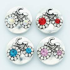 fashion beauty elegant colorful rhinestone bicycle 18mm snap ons fit snap bracelet snap jewelry whole kz3142