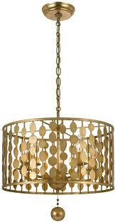 interior crystorama 545 ga layla modern antique gold drum pendant light cheerful chandelier wondeful 7