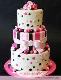 Pink Brown 3 Tier Cake