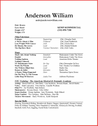 Beginner Resume Templates Free Example For Free Actor Resume