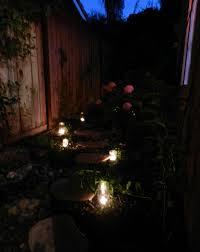 Side Yard Lighting Narrow Side Yard With Stepping Stones Jars With Tea Lights