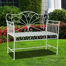 outsunny 42 antique garden bench 2 seat metal patio outdoor seat all weather loveseat park
