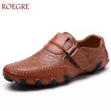 roegre men genuine leather shoes lace up men shoe real leather loafers mens moccasins italian designer flats shoes size 38 47 yellow shoes gold shoes from