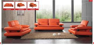 410 orange leather sofa set by esf esf furniture