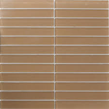 sheet of 1x6 inch brown frosted glass subway tile