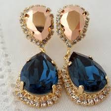 navy blue and rose gold chandelier earrings drop earrings dang