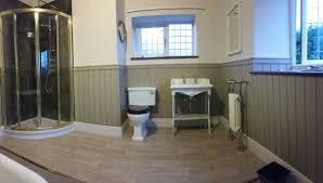 Traditional Bathroom Old Cottage Wood Paneling Gold