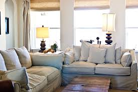 awesome french country cottage living room ideas white fabric arms sofa cover beige fabric windows blinds