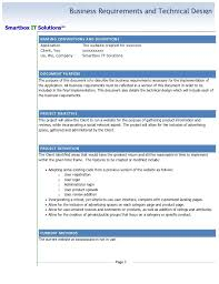 requirements document template business requirements document template simple business requirements