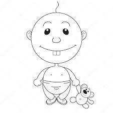 クマのおもちゃとアニメーションのかなりの少年のイラスト ストック