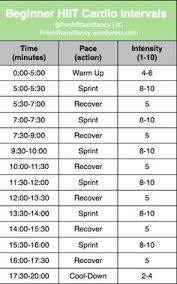 a 20 minute beginner hiit workout plete with a warm up 6 sprint