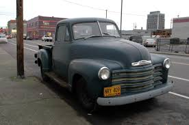 OLD PARKED CARS.: 1952 Chevrolet Pickup.