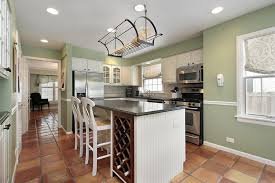 traditional kitchen with white cabinets and light green painted walls