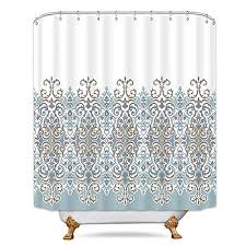 cdcurtain tan turquoise white shower curtain set damask fl flower polyester decor fabric waterproof 72x72 inch 12 pack plastic shower hooks