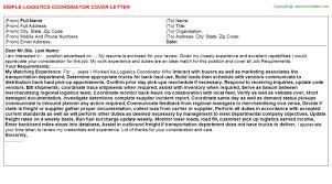 Logistics Coordinator Cover Letter Logistics Coordinator Cover Letter