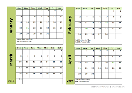 Printable Free Monthly Calendars 2019 Four Month Calendar Template Free Printable Templates