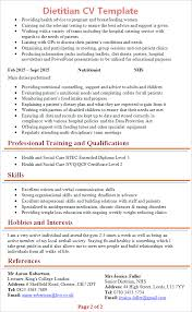 Excellent Resume Template Dietitian Cv Template Tips And Download Cv Plaza