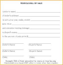 Bill Of Sale Template Form Free Motor Vehicle Car