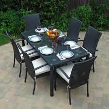 engaging patio chair cushions lowes canada style for cool solid black outdoor dining sets six high back dinning chair and rectangular dining table on pavers flooring exterior decor outside