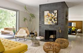 living room elegant indoor stone fireplace designs in cozy living room design with yellow sofa