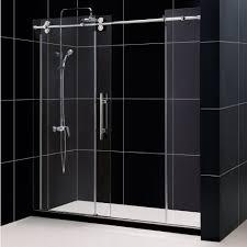image of frameless sliding glass shower doors install