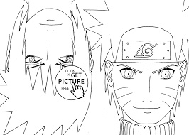 Small Picture Naruto with Sasuke anime coloring pages for kids printable free