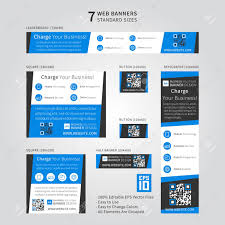 Advertising Web Banner Vector Template With Dark Grey And Blue