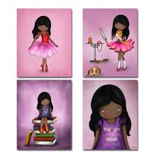 set of 4 art prints for girls room african american artwork pink purple wall art posters for child s bedroom or nursery 8x10 dark skin black hair girl on african american wall art prints with set of 4 art prints for girls room african american artwork pink