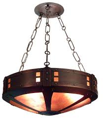 hammered copper lighting. arts and crafts style round hammered copper chandelier with mica lighting d