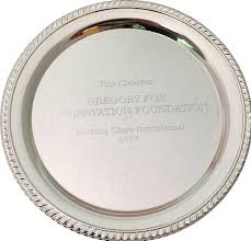 this lovely steel personalized wedding anniversary plate is a great gift for the 25th wedding anniversary you can have the name of the couple end on