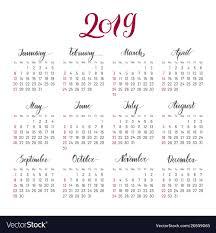 Plain Wall Calendar 2019 Year Lettering Flat