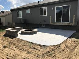 concrete patio with fire pit. Simple Pit Finished Image Coming Soon With Patio Sealed And Sod Installed With Concrete Patio Fire Pit A