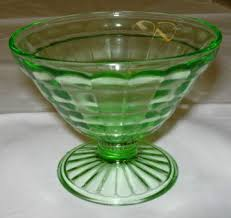 block optic green depression glass sherbet dessert dish