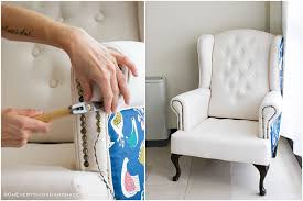 farmhouse style wingback chair makeover by oheverythinghandmade chair almost complete