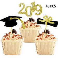 Amazoncom Yubobo 2019 Graduation Cupcake Toppers Foodappetizer