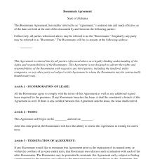 Sample Roommate Contract Roommate Agreement Free Template Word Pdf