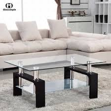 Rectangular Glass Coffee Table Shelf Chrome Black Wood Living Room Furniture