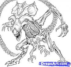 Small Picture Alien vs Predator Coloring Pages Alien Queen Drawing How to draw
