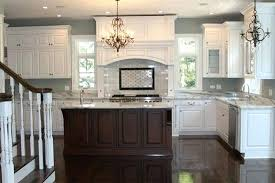 Antique White Kitchen Dark Floors With Cabinets Island Modern home