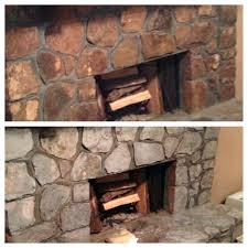lava rock fireplace mantel update old cleaning