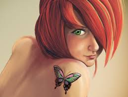 Wallpaper Face Women Redhead Anime Green Eyes Artwork Tattoo