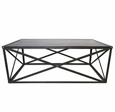 Iron And Stone Coffee Table Crispin Industrial Style Metal Stone Coffee Table Kathy Kuo Home